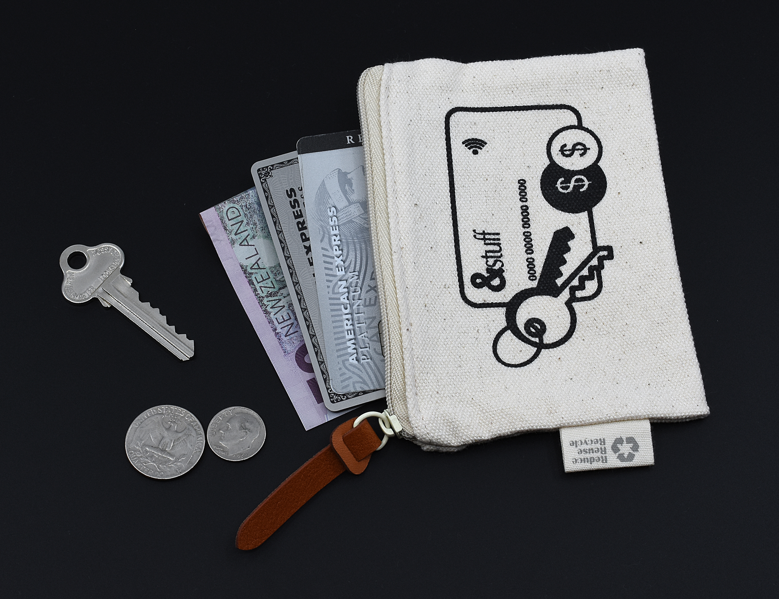 Calico Card & Key Pouch 8.5cm x 13cm
