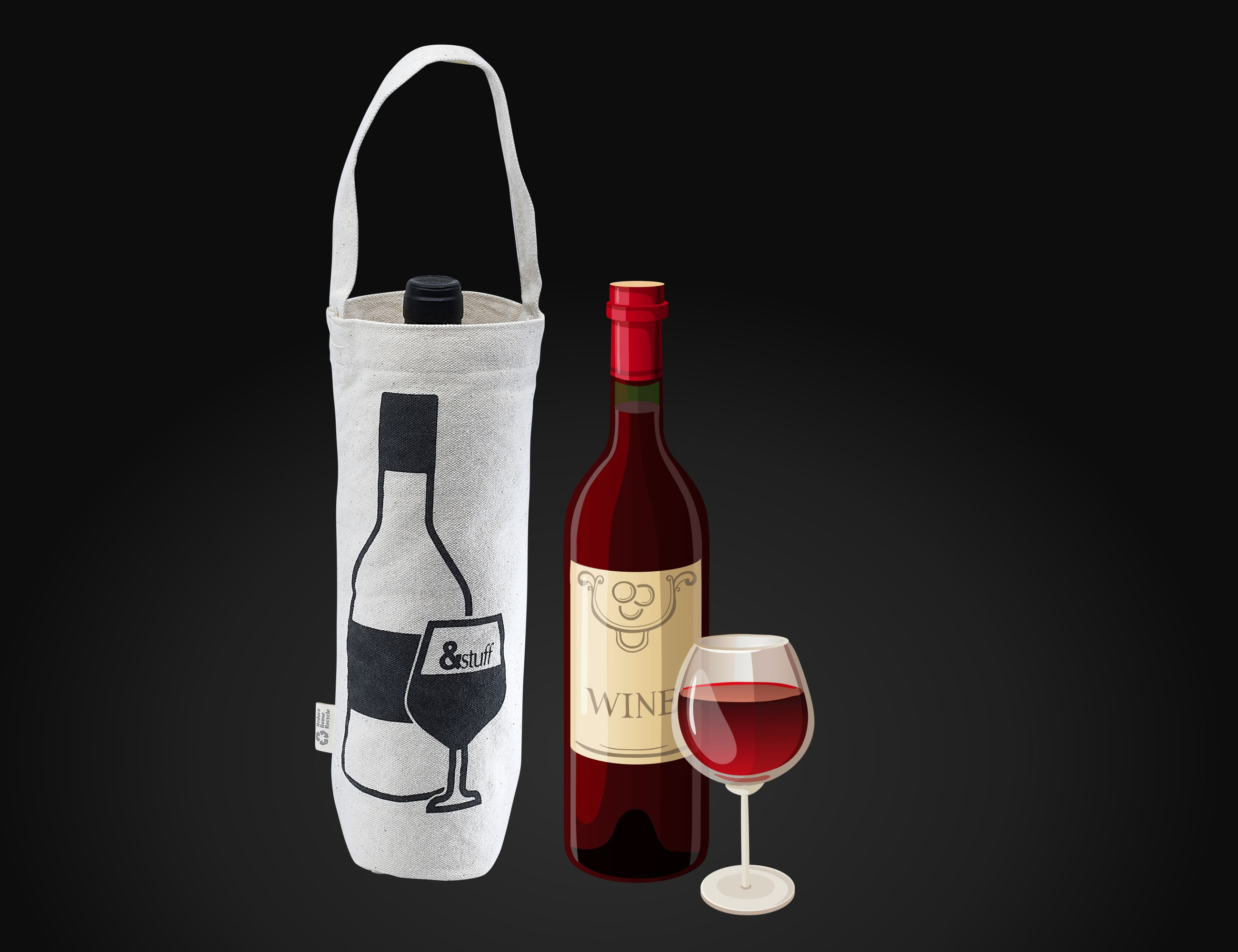 Calico Wine Bag 30cm x 16cm x 9cm